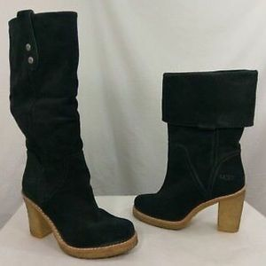 Ugg Tall Black Cuff-over Suede High-heel Boots